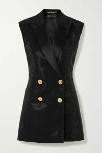 Versace - Satin-trimmed Crystal-embellished Cady Vest - Black
