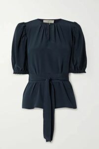ARoss Girl x Soler - Brooke Belted Silk Crepe De Chine Top - Navy