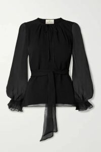 ARoss Girl x Soler - Amanda Belted Silk-chiffon Blouse - Black