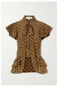 Michael Kors Collection - Pussy-bow Ruffled Polka-dot Silk-crepe Top - Light brown
