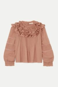 DÔEN - Atalia Ruffled Lace-trimmed Swiss-dot Cotton Blouse - Pink