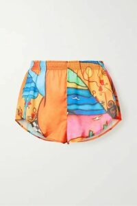 Esteban Cortázar - Printed Crepe De Chine Shorts - Orange
