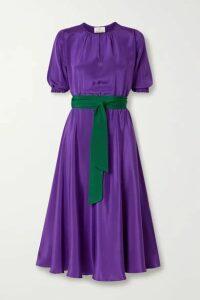 ARoss Girl x Soler - Alison Leigh Belted Silk Crepe De Chine Midi Dress - Purple