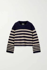 Khaite - Dotty Cropped Striped Cashmere Sweater - Navy