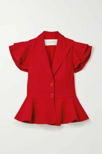 Michael Kors Collection - Ruffled Cady Peplum Top - Red