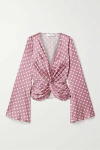 Caroline Constas - Romy Twist-front Polka-dot Silk-blend Satin Top - Pink