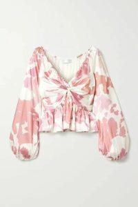 Caroline Constas - Onira Printed Silk-blend Satin Top - Ivory