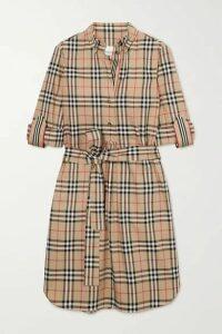 Burberry - Belted Checked Cotton-blend Poplin Mini Dress - Beige