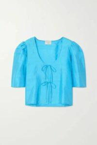 MaisonCléo - Agnes Tie-detailed Silk-dupioni Blouse - Azure