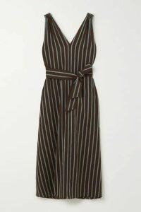 Brunello Cucinelli - Belted Bead-embellished Striped Gauze Maxi Dress - Dark brown