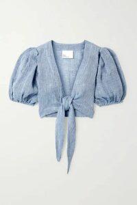 Lisa Marie Fernandez - + Net Sustain Pouf Tie-front Linen-blend Gauze Top - Azure