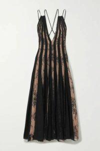 Oscar de la Renta - Tulle And Lace-paneled Pleated Silk-voile Midi Dress - Black