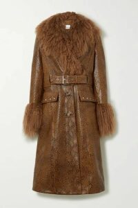 Burberry - Wetherby Belted Shearling-trimmed Snake-effect Leather Coat - Brown