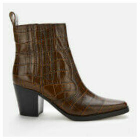 Ganni Women's Leather Croc Heeled Western Style Boots - Chicory Coffee