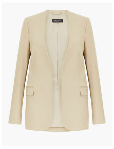 M&S Collection Collarless Open Front Blazer