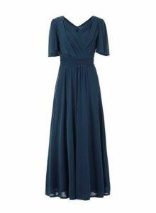 Womens *Jolie Moi Blue Flute Sleeve Maxi Dress, Blue
