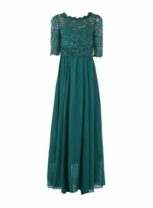 Womens Jolie Moi Teal Lace Overlay Maxi Dress, Teal