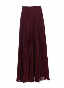 Womens Jolie Moi Burgundy Crepe Pleated Maxi Skirt, Burgundy