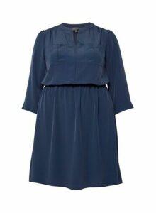Womens Billie & Blossom Curve Navy Crepe Shirt Dress - Blue, Blue