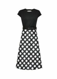 Womens Luxe Mono Spot Bow Back Belted Midi Dress - Multi Colour, Multi Colour