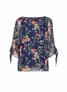 Womens Billie & Blossom Black Label Navy Floral Tie Sleeve Top - Blue, Blue