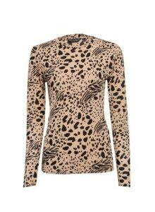 Womens Brown Printed Long Sleeve Mesh Top- White, White