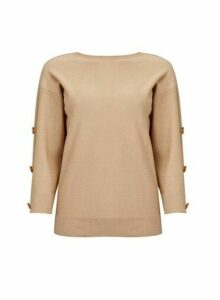 Womens Camel Button Sleeve Jumper- Brown, Brown