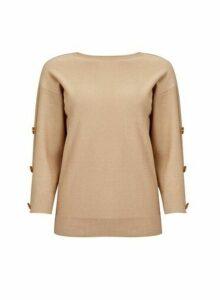 Womens Camel Button Sleeve Jumper - Brown, Brown