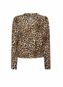 Womens Brown Leopard Print High Neck Top, Brown