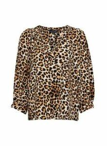 Womens Multi Colour Leopard Print 3/4 Sleeve Top, Multi Colour