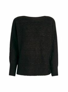 Womens Black Textured Batwing Jumper, Black