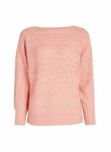 Womens Coral Textured Batwing Jumper, Coral