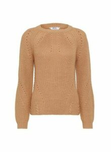 Womens Dp Petite Latte Stitch Jumper - White, White