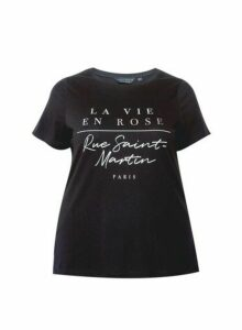 Womens Dp Curve Black Printed T-Shirt, Black