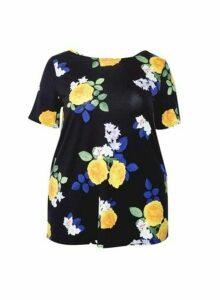 Womens Dp Curve Black Floral Top - Multi Colour, Multi Colour