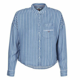 Tommy Jeans  CROPPED BOXY STRIPE SHIRT  women's Shirt in Blue