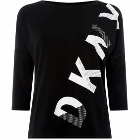 DKNY Hi-loww three quarter sleeve printed logo top