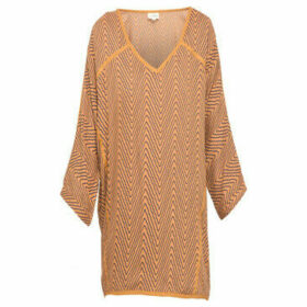 La Fiancé Du Mékong  Loose fit 3/4 sleeve V-neck  women's Blouse in Brown