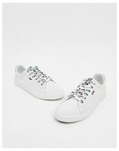 Tommy Jeans casual lace up trainers in white