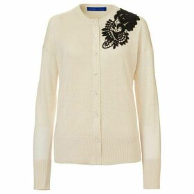 Winser London Silk Cotton Cardigan With Guipure Lace