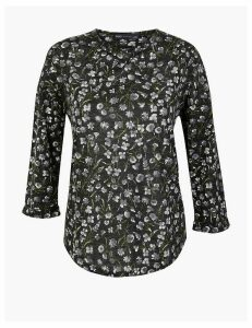 M&S Collection Floral Print Long Sleeve Top with Linen