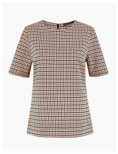 M&S Collection Checked Short Sleeve Top