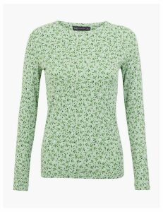M&S Collection Pure Cotton Printed Long Sleeve Top