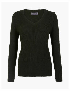 M&S Collection Ribbed V-Neck Mock Wrap Jumper