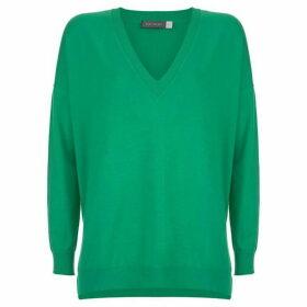 Mint Velvet Green V-Neck Boxy Knit