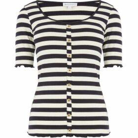 Warehouse Stripe Rib Button T-shirt