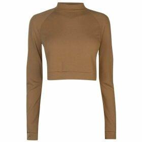 adidas Long Sleeve Crop T Shirt Ladies - Raw Desert
