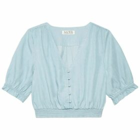 Jack Wills Kerry Shirred Waist Blouse - Pale Blue
