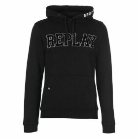 Replay Hoodie With Pouch Pocket and Embroidery - Black 098