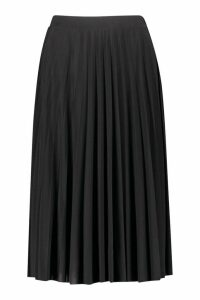 Womens Pleated Full Midi Skirt - Black - 14, Black